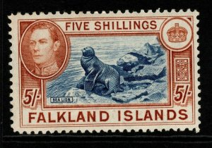 FALKLAND ISLANDS SG161b 1938 5/= INDIGO & PALE YELLOW-BROWN MTD MINT