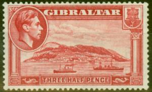 Gibraltar 1938 1 1/2d Carmine SG123a P.13.5 Fine Lightly Mtd Mint