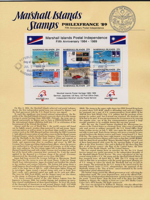 Marshall Islands 230 on Souvenir Card, Majuro Cancel - Ship, Stamp on Stamp, Car