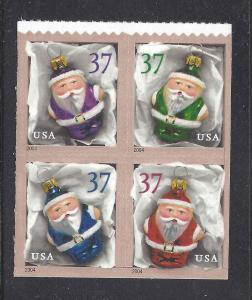 [SOLD] US Scott # 3887 - 3890 / 3890a Christmas Ornaments 2004 block of 4 From B