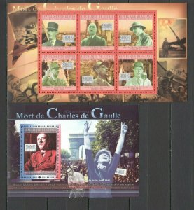 BC393 2010 GUINEA FAMOUS PEOPLE WORLD LEADERS CHARLES DE GAULLE WWII 1KB+1BL MNH