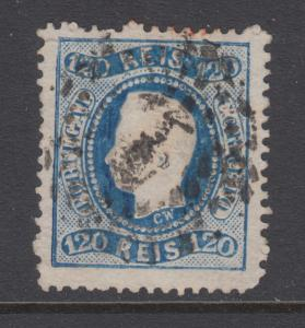 Portugal Sc 32 used 1867 120r typographed & embossed King Luiz, Irregular Perfs