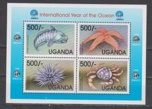 Uganda 1998 year of ocean fish sea stars crabs klb of 4v MNH