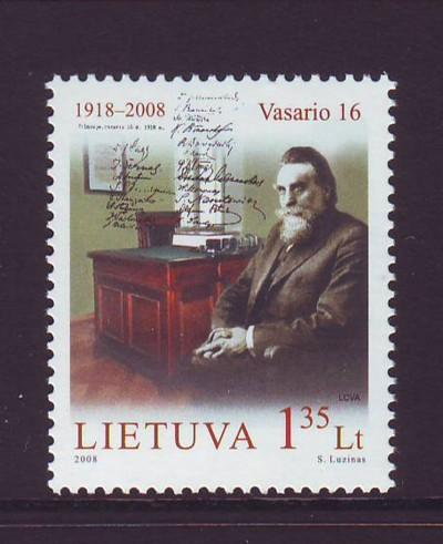 Lithuania Sc 861 2008 90th anniv Independence stamp mint NH