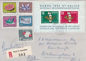 Switzerland 1959 Pro-Patria set Complete on FDC with Nabag Sheet Registered USA