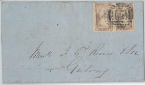 59449 -  VICTORIA  -  POSTAL HISTORY: QUEEN on THRONE  2 pence *2 on  COVER 1852