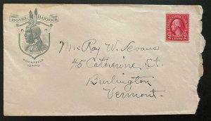 1900s Pocatello ID USA Advertising Hotel Bannock Cover To Burlington VT