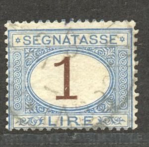 Italy, Postage Due, 1870, 1 Lire, VF ++ used, Scott # J 13
