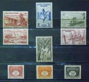 FR WEST AFRICA  MH  Scott # 36, 37, 38, 39, 40, 41, J1, J2, J3   CV$ 4.95