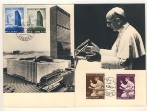 VATICAN 1965 Voyage & discours Pape Paul VI à l'ONU, New York - 2 Cartes Maximum