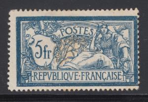 France Sc 130 MOG. 1900 5fr dark blue & buff Merson, gum thins