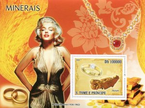 Sao Tome & Principe 2008 MARILYN MONROE Minerals s/s Perforated Mint (NH)