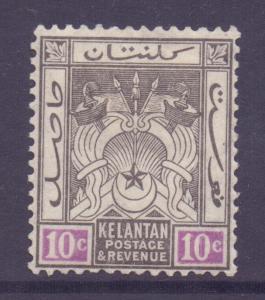 Malaya Kelantan Scott 23 - SG20, 1921 Script CA 10c MH*