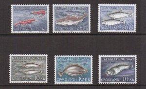Greenland  #136-141   MNH  1981-1986  marine life   fish