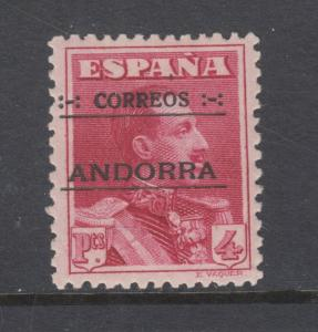 Andorra, Spanish Sc 11 MLH. 1928 4p lake, black ovpt, VLH, VF.