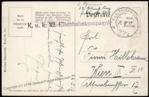 Austria WWI Railway Army Train Eisenbahnkomp 32 Feldpost 67338