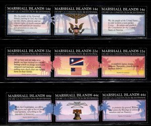 Marshall Islands Scott 143-151 MNH** triptych Constitution set