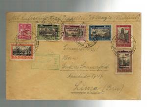 1932 Danzig Graf Zeppelin Cover Complete set # C31-C35 to Lima Peru