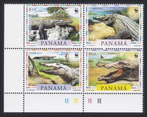 Panama WWF American Crocodile 4v Bottom Left Corner Block of 4 SG#1590-1593