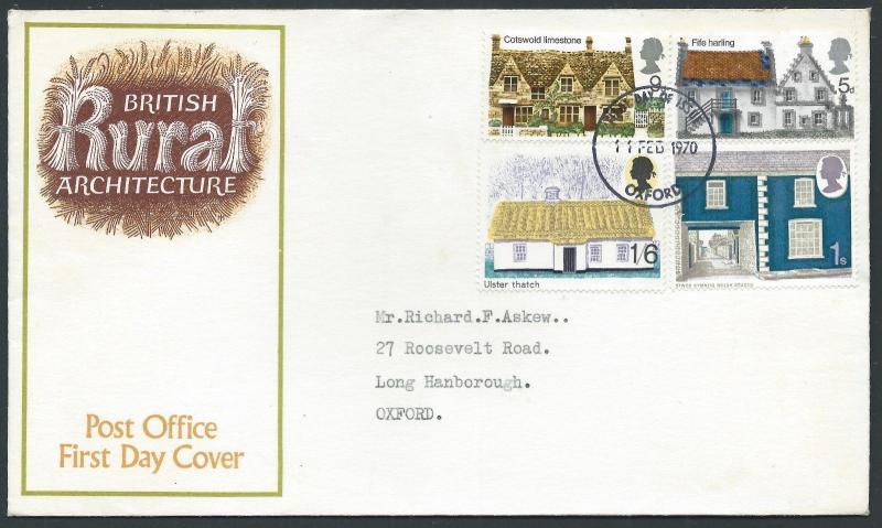 GB 1970 British Rural Architecture Cover OXFORD CDS FDI FDC