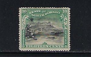 NORTH BORNEO SCOTT #89 1897 18 CENTS (GREEN/BLACK) MINT HINGED