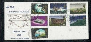 PITCAIRN ISLANDS COVER (PP0301B) 19 69 DEF SET CACHETED UNADDRESSED FDC