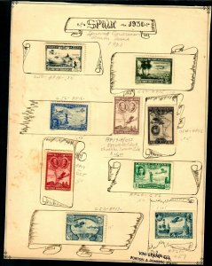 Spain Air Post 1930 on Graphic page C50-57 complete set C55a Color Error MH OG