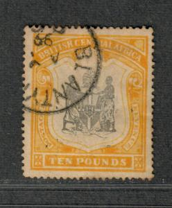 British Central Africa Sc#56 Used/VF, Wmk #1 Light Toning, 10 Pounds!, Cv. $2750