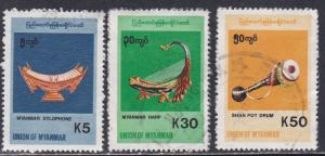 Myanmar - Burma # 339, 342 & 343, Musical Instruments, Used, 1/3 Cat.