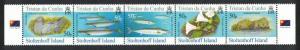 Tristan da Cunha Birds Fish Marine Life Plants Stoltenhoff Island strip of 5v
