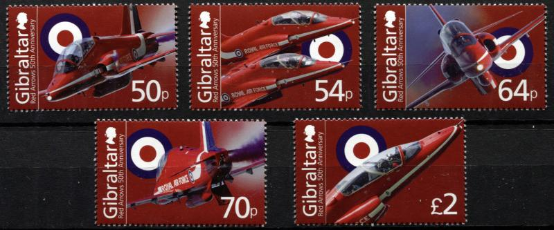 Gibraltar. 2014. The 50th Anniversary of the Red Arrows (MNH OG) set of 5 stamps