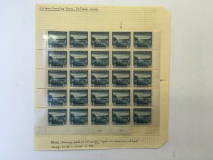 Chile 1938-40 1.80 Part Sheet of 25 Stamps MNH. Scott 206 + SOFICH Varieties