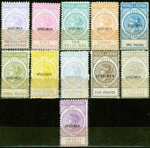 South Australia 1886-96 Specimen set of 11 SG195s-208s Fine Lightly Mtd Mint
