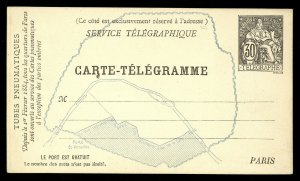 fr034 France Carte-Telegramme Telegraphe 30c Paris Map unused