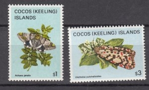 J28384, 1982 Cocos islands better part of set mnh #100,102 butterflies