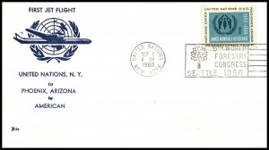 UN New York to Phoenix,AZ 1960 American Airlines First Jet Flight Cover