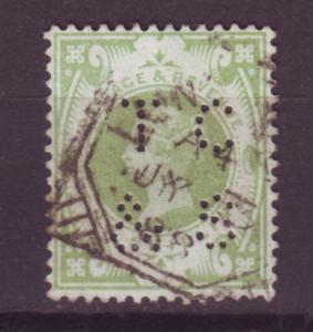 J13983 JLstamps 1887-92 great britain perfin T C & S used #122 queen $72.50 scv