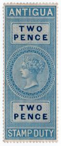 (I.B) Antigua Revenue : Duty Stamp 2d (1870)