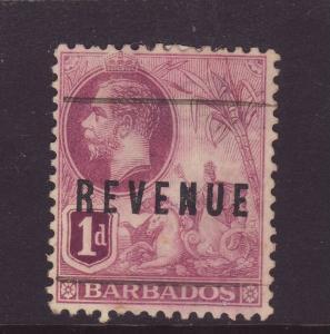 1916 Barbados 1d Optd Revenue Fine Used