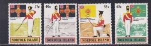 Norfolk Island. # 302-305, Military Uniforms, NH, 1/2 Cat.