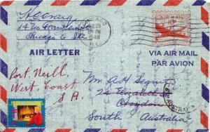 United States U.S. Postal Stationery 10c DC-4 Skymaster Air Letter 1948 Chica...