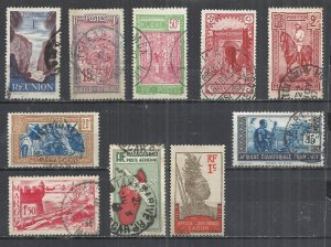 FRENCH COLONIES - LOT OF 10 DIFFERENT  4 - POSTALLY USED