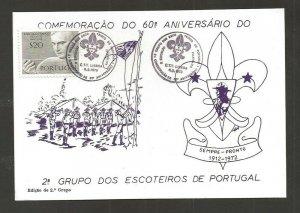 1973 Portugal Boy Scout 60th anniversary postcard