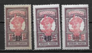 Martinique 108-10 1922 Surcharge set MNH
