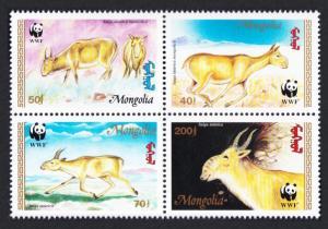 Mongolia WWF Saiga Block of 4 SG#2497-2500 MI#2562-2565 SC#2209-2212