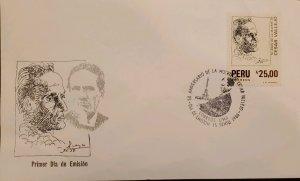 O) 1988 PERU, CESAR VALLEJO, POET, FDC XF