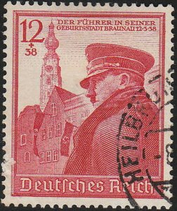 Stamp Germany Mi 691 Sc B137 1939 WWII Fascism Hitler Birthday Used