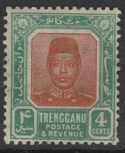 MALAYA TRENGGANU SG5 1915 4c RED-BROWN & GREEN MTD MINT