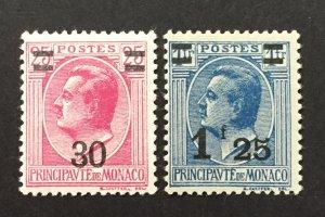 Monaco 1924-33  #93,98, Louis II O/P, MNH & MH.