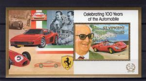 St.Vincent 1987  FERRARI AUTOMOBILE 100 YEARS 1 S/S SPECIMEN  MNH Sc#1049